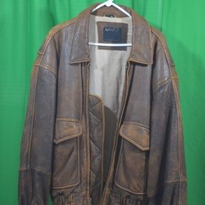 Full grain leather bomber jacket. By Andrew Marc